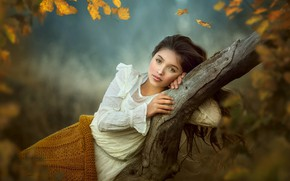 Picture autumn, look, branches, pose, tree, mood, girl