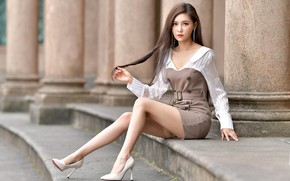 Picture girl, face, pose, style, hair, figure