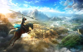 Picture Mountains, Horse, The game, Jump, Clouds, Warrior, Game, Spear, Dynasty Warriors 9, Квест