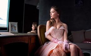 Picture look, girl, pose, room, figure, dress, neckline, beautiful, Kate Kotaro, Olszewski Sergey