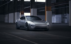 Picture glass, Shine, garage, silver, columns, silver, metal, metal, garage, electric car, polestar, 2020, precept