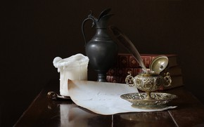 Picture books, candle, pitcher, still life, ink