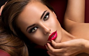 Picture look, face, eyelashes, hand, makeup, manicure, model, Valua Vitaly