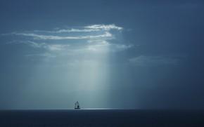 Picture sea, the sky, rays, yacht, sky, sea, rays, yacht