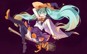 Picture flight, Halloween, broom, cloak, vocaloid, Hatsune Miku, Vocaloid, blue hair, black stockings, witch hat, Lollipop