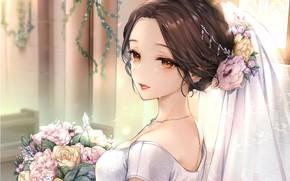 Picture neckline, columns, the bride, veil, flower in hair, the bride's bouquet, sideways, tears in the …