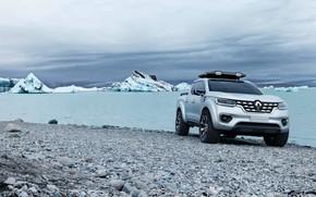 Picture stones, shore, silver, ice, Renault, pickup, 2015, Alaskan Concept