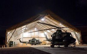 Picture light, night, weapons, army, hangar, helicopter