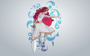 Picture girl, sword, red, Princess, Aurora, Child of Light, by Guilherme de Abreu