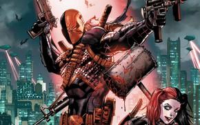 Picture The city, Gun, Blood, Sword, Costume, Building, City, Weapons, Mask, Comic, Hammer, Machine, Gun, Villain, …