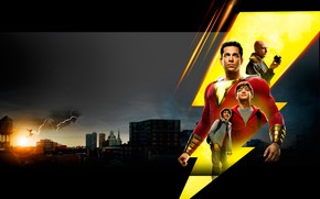 Picture background, fiction, night city, poster, comic, DC comics, Mark Strong, Mark Strong, Shazam!, Zachary Levi, …