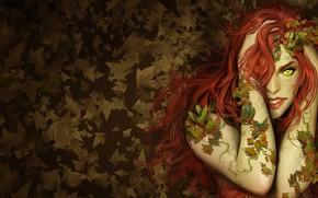 Picture autumn, leaves, girl, red, comic, green-eyed, DC Comics, Poison Ivy, Pamela Lillian Isley, Pamela Lillian …