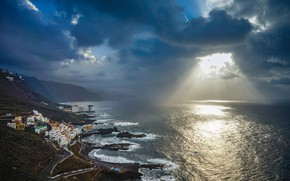 Picture the sky, rays, light, mountains, clouds, the city, the ocean, coast, home, Canary Islands, Tenerife, …