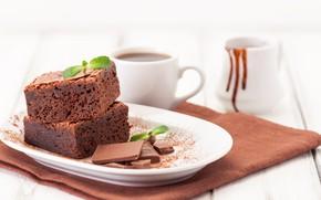 Picture coffee, chocolate, pie, Cup, mint, chocolate, milk, brownie, Iryna Melnyk