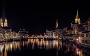 Picture night, bridge, lights, river, watch, building, home, boats, Switzerland, lights, tower, Zurich