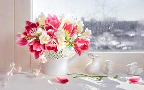 Picture bouquet, window, tulips, vase, figures