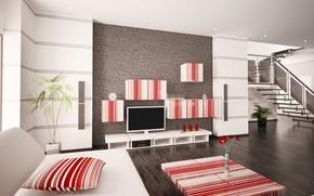 Picture flowers, interior, living room, plasma, modern