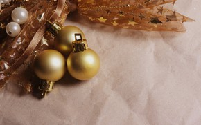 Picture winter, balls, paper, background, holiday, balls, toys, Christmas, three, New year, bow, trio, bokeh, Christmas …