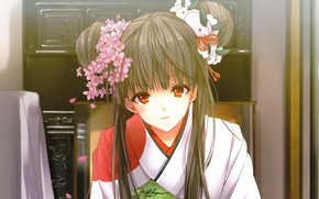 Picture hairstyle, girl, kimono, flowers in her hair, red eyes, bangs