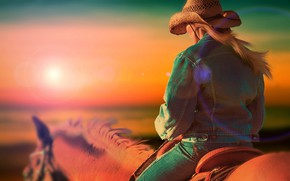 Wallpaper girl, sunset, horse, horse, jeans, hat, cowboy, dzhinsovka