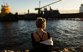 Picture girl, port, the water, Aleks Five