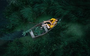 Picture sleep, two girls, in the boat, Maxim Gontarev, Maxim Gontarev