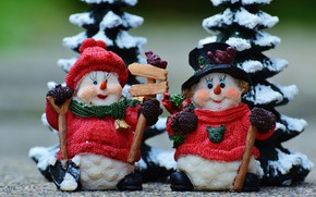 Picture winter, snow, eyelashes, holiday, toy, toys, Christmas, New year, snowmen, snowman, staff, a couple, Duo, …