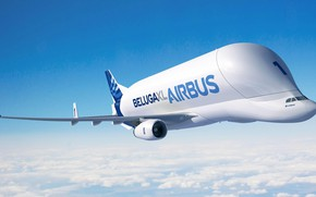 Picture the plane, The sky, Flight, the plane, Cargo, Airbus, Beluga, First, Flies, A300, Airbus Beluga, …