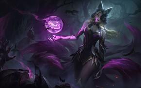 Picture dark, girl, sword, fantasy, game, magic, armor, night, raven, blue eyes, purple eyes, League of …