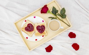 Picture love, roses, Breakfast, hearts, love, romantic, hearts, coffee cup, valentine, breakfast, roses, a Cup of …