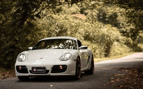 Picture road, white, lights, Porsche, Porsche, Cayman, Porsche, Porsche Cayman, porsche cayman s