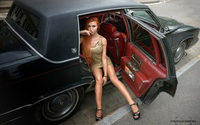 Picture look, sexy, pose, model, portrait, makeup, figure, dress, hairstyle, legs, car, the sidewalk, sitting, redhead, …
