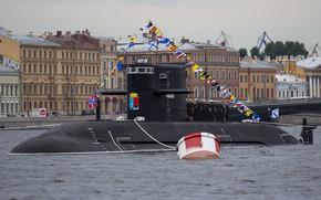 Picture boat, underwater, diesel, Kronstadt