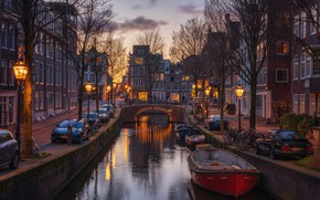 Picture machine, bridge, the city, building, home, boats, the evening, lighting, Amsterdam, lights, channel, Netherlands, bikes, …