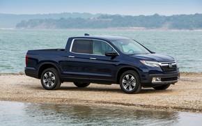 Picture Honda, side view, shoal, pickup, dark blue, Ridgeline, 2019