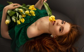 Picture look, girl, flowers, face, hair, red, redhead, yellow tulips, Юлия Бусыгина