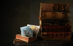 Picture background, books, money