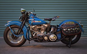 Picture Blue, Harley-Davidson, 1948, Motorcycle, Panhead, Old bike, Antique motorcycle