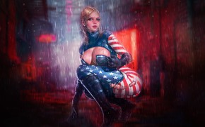 Picture Girl, Night, Map, Blonde, Rain, Style, Flag, Girl, Costume, USA, USA, Beautiful, Form, Forms, Style, …