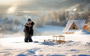 Picture winter, snow, boy, sled