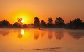 Picture the sky, trees, river, dawn, morning, Mirek Pruchnicki
