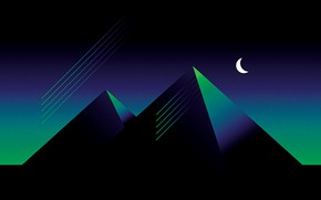 Picture Minimalism, Style, Pyramid, Pyramid, Background, Style, Illustration, A month, Synth, Retrowave, Synthwave, New Retro Wave