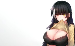 Picture girl, sexy, lingerie, bra, cleavage, blouse, long hair, boobs, anime, beautiful, pretty, brunette, erotic, breasts, …