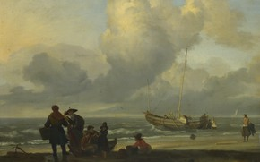 Picture people, boat, picture, Ludolf Bakhuizen, Ludolf Bakhuizen, Beach Scene with Fishermen