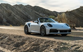 Picture road, stones, rocks, 911, Porsche, Porsche, Turbo, Cabriolet, 2021