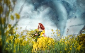 Picture flowers, nature, Girl, dress, red, Maria Lipina