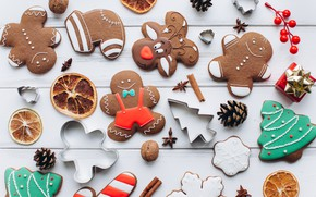 Picture decoration, New Year, cookies, Christmas, Christmas, wood, New Year, cookies, decoration, gingerbread, gingerbread, Merry