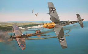 Picture art, spitfire, airplane, aviation, bf-109, ww2