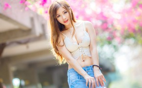 Picture look, Asian, big Breasts, blurred background, charm, look, asian, big tits, white top, charm, white …