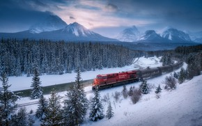 Picture winter, forest, snow, trees, mountains, river, train, Canada, Albert, Banff National Park, Alberta, Canada, Banff …